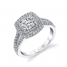 0.46tw Semi-Mount Engagement Ring With 1ct Round/Cushion Halo - s1390 rch
