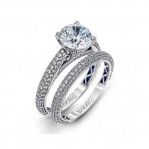 Simon G. 18k White Gold Diamond Engagement Ring and Wedding Band Set - LP1973