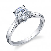 0.03tw Semi-Mount Engagement Ring With 1ct Round Head - sy904