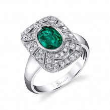 1.76tw Semi-Mount Engagement Ring With 1.20ct Oval Emerald - s1228 em