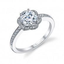 0.20tw Semi-Mount Engagement Ring With 1ct Round Head - s1085