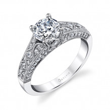 0.51tw Semi-Mount Engagement Ring With 1ct Round Head - s1302