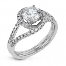 Simon G. 18k White Gold Diamond Engagement Ring - CR131