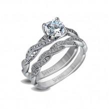 Simon G. 18k White Gold Engagement Ring and Wedding Band Set - MR1498-D