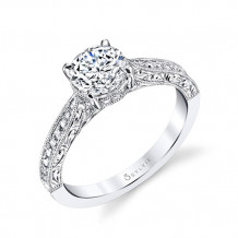 0.23tw Semi-Mount Engagement Ring With 1ct Round Head - s1363