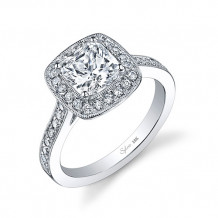 0.42tw Semi-Mount Engagement Ring With 6.5X6.5 Cushion Head - sy865 cu