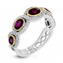 Simon G. 18k White Gold Diamond & Ruby Ring - MR2698