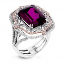 Simon G. 18k White Gold Diamond & Rubellite Ring - MR2731