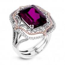 Simon G. 18k White Gold Diamond & Rubellite Ring - MR2731