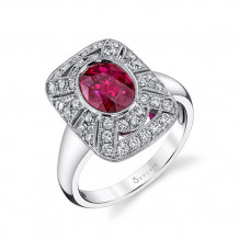 2.14tw Semi-Mount Engagement Ring With 1.58ct Oval Ruby 14W - s1228 ru