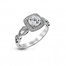 Simon G. 18k White Gold Diamond Halo Engagement Ring - TR526