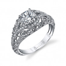 0.23tw Semi-Mount Engagement Ring With 1ct Round Head - s1203