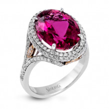 Simon G. 18k Two Tone Gold Diamond & Rubellite Ring - MR2717