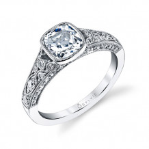 0.54tw Semi-Mount Engagement Ring With 1.25ct Cushion Head - s1132 cu