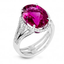 Simon G. 18k White Gold Diamond & Rubellite Ring - MR2714