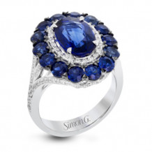 Simon G. 18k White Gold Diamond and Sapphire Ring - MR2697
