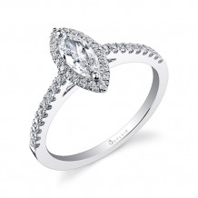 0.26tw Semi-Mount Engagement Ring With 1/2ct Marquise Head - sy696 mq