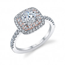 0.55tw Semi-Mount Engagement Ring With 1ct Round/Cushion Halo Two Tone - s1097 tt