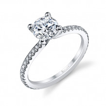 0.21tw Semi-Mount Engagement Ring With 1ct Round Head - s1093