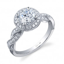 0.36tw Semi-Mount Engagement Ring With 1ct Round Head - sy897