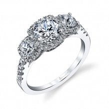 0.90tw Semi-Mount Engagement Ring With 1ct Round Head - s1165s