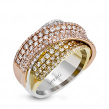 Simon G. 18k Tri Tone Gold 1.85ct Diamond Band - MR2684